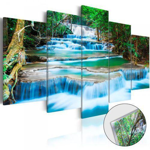 Obraz na szkle akrylowym - Błękitny wodospad w Kanchanaburi, Tajlandia [Glass]