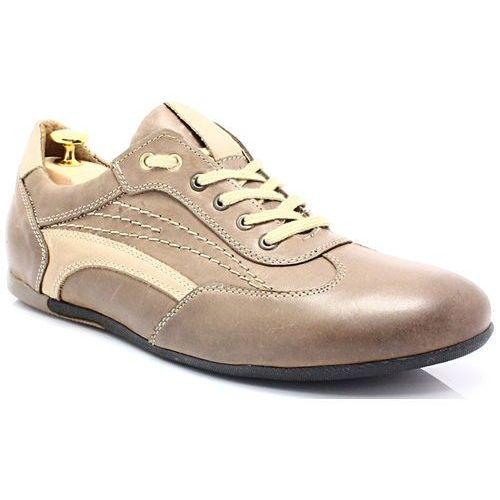 KENT 296 BRĄZ - Sportowo eleganckie skórzane buty - Brązowy, kolor brązowy