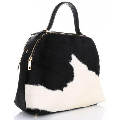 Genuine leather Elegancki kuferek skórzany made in italy krówka w biało czarne łatki