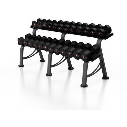 Zestaw hantli żeliwnych gumowanych 5-32,5 kg ze stojakiem marbo professional - czarny marki Marbo sport
