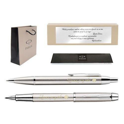 Zestaw  brushed ct pióro długopis grawer tabliczka z dedykacją gratis marki Parker