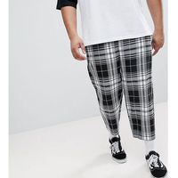 Reclaimed Vintage Inspired Plus Size Relaxed Cropped Trouser In Check - Black, kolor czarny