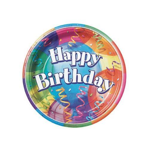 Unique Talerzyki urodzinowe happy birthday baloniki - 23 cm - 8 szt.
