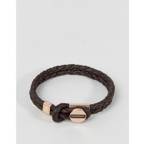 Emporio armani plaited bracelet in brown & bronze - brown