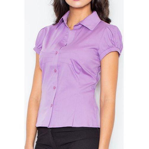 Fioletowa Elegancka Koszula z Krótkim Rękawem, w 5 rozmiarach