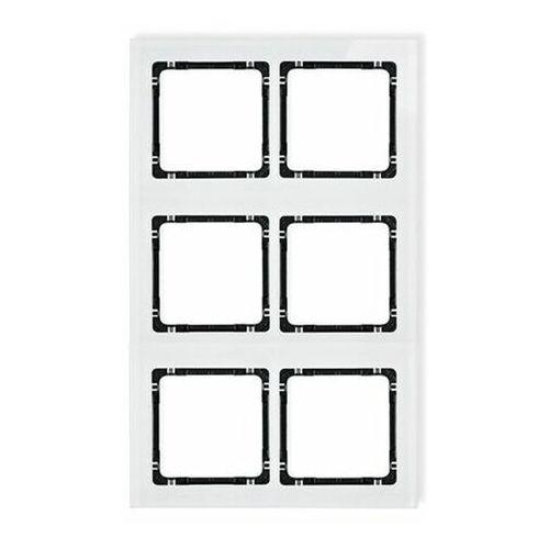 Deco ramka modułowa 6 krotna (2 poziom, 3 pion) - efekt szkła (ramka biała spód czarny) biały 0-12-drsm-2x3 marki Karlik elektrotechnik sp. z o.o.