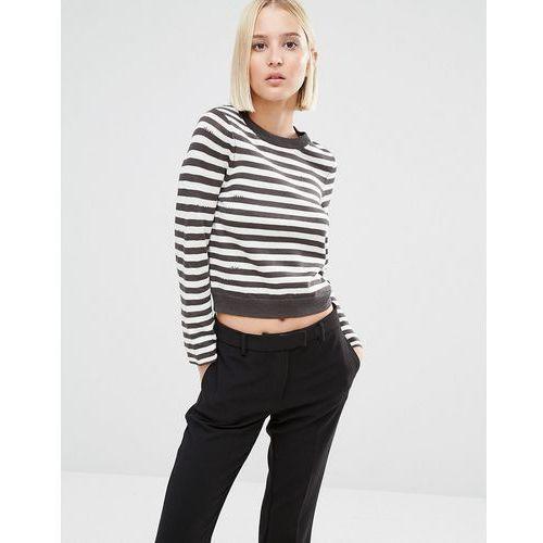 cropped stripe knit jumper - multi marki Cheap monday