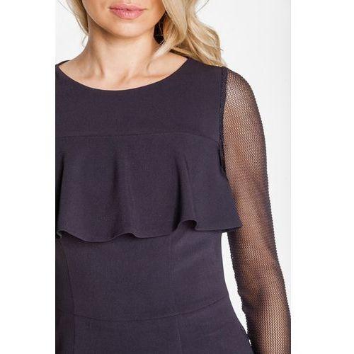 Emoi Czarna sukienka z falbaną na poziomie biustu -