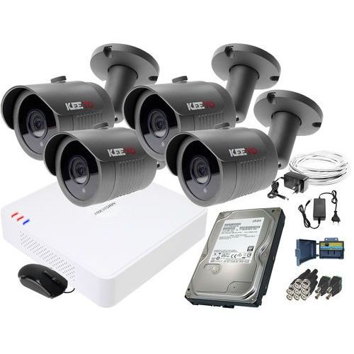 ZM11837 Zestaw do monitoringu 4 kamery IR 30m Rejestrator Hikvision FullHD Dysk 1TB