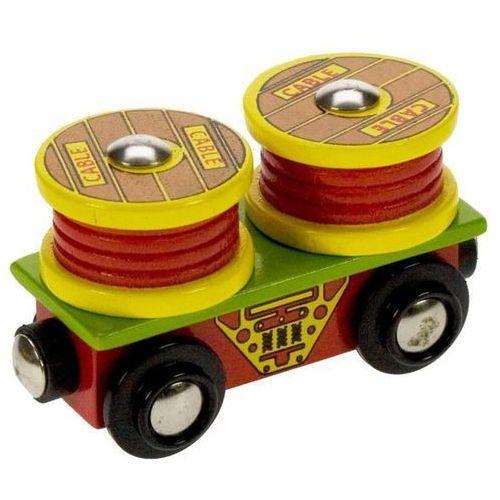 Bigjigs toys Wagon z rolkami kablowymi do zabawy, wyposażenie kolejek drewnianych bigjigs