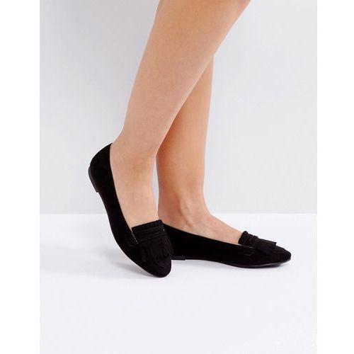 London rebel fringe flat slipper with buckle - black