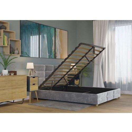Big meble Łóżko 140x200 tapicerowane bergamo + pojemnik welur szare