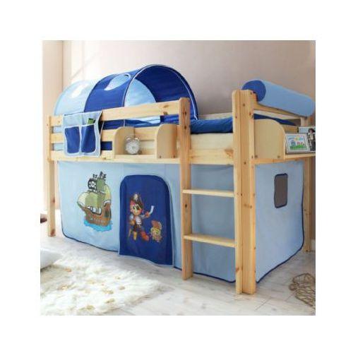TICAA Łóźko piętrowe MALTE sosna naturalny - Pirat jasnoniebieski/ciemnoniebieski (4250393810472)