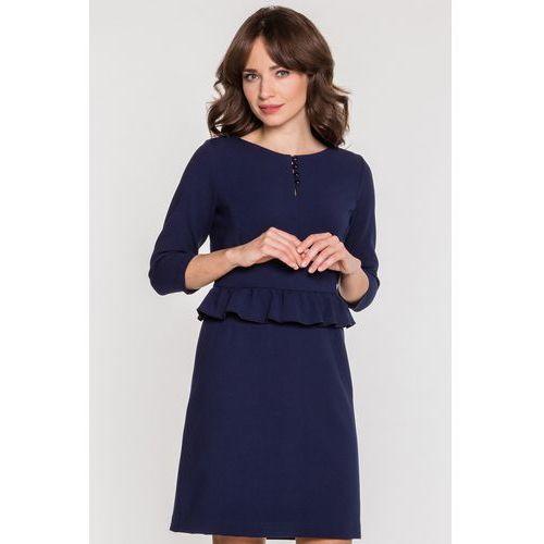 698d9eb29f Suknie i sukienki · Granatowa sukienka z baskinką - Kumi