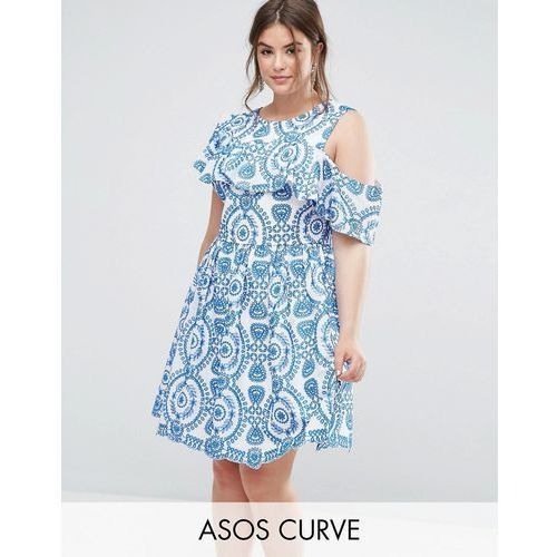 Asos curve  premium sleeveless broderie skater dress with ruffle and open back - multi
