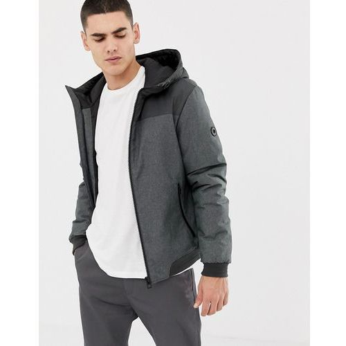 Esprit blouson jacket with hood in grey colour block - Black