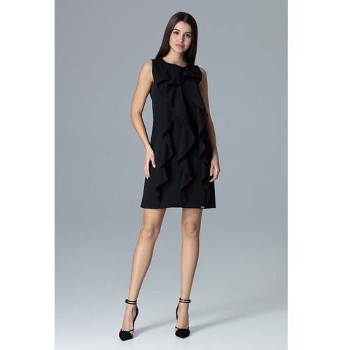 0d21e6cd59 Czarna wyjściowa sukienka trapezowa z pi... Producent Figl  Rodzaj trapezowa   Długość rękawa ...