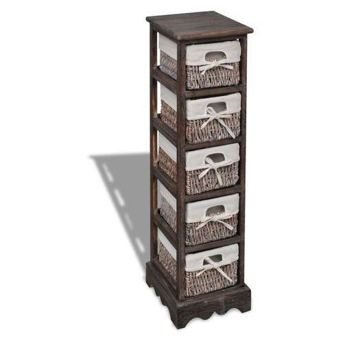 Vidaxl drewniana szafka z 5 koszykami, brązowa (8718475862451)