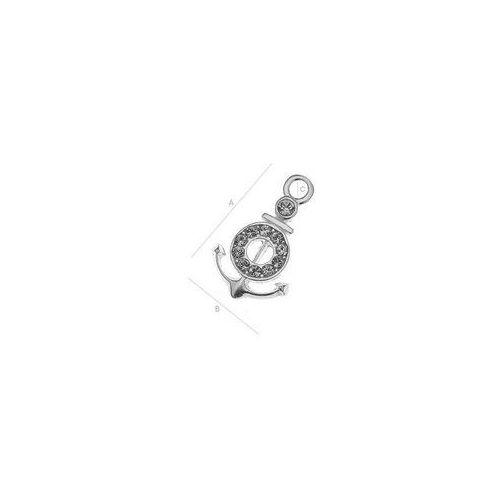 Charms kotwica z kamieniami swarovskiego, srebro 925 s-charm 108 wyprodukowany przez 925.pl