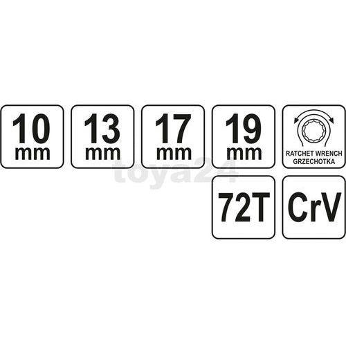 Yato Klucz oczkowy z grzechotką, dwustronny: 10-13-17-19 mm / yt-4945 / - zyskaj rabat 30 zł (5906083949456)