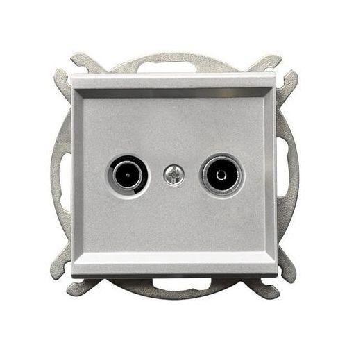 Gniazdo antenowe RTV zakończeniowe Srebro mat - GPA-10RPZ/m/38 Sonata, GPA-10RPZ/M/38