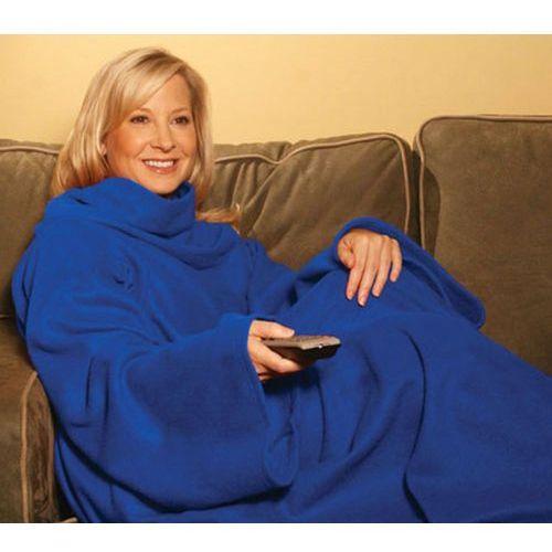 KOCYK SZLAFROK -super koc z rękawami niebieski, kolor niebieski
