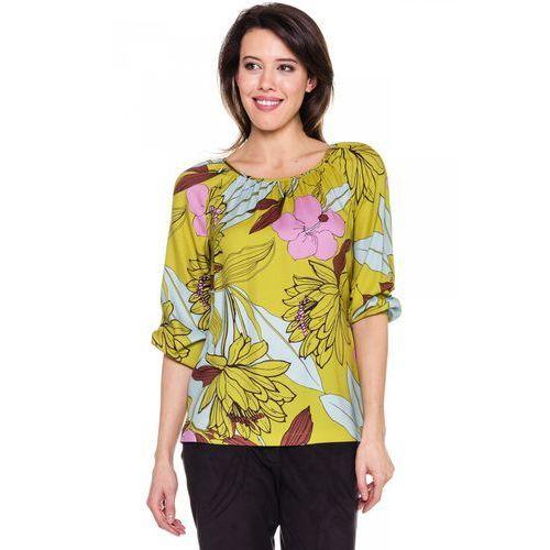 Zielona bluzka w kwiaty - , bluzka damska Bialcon