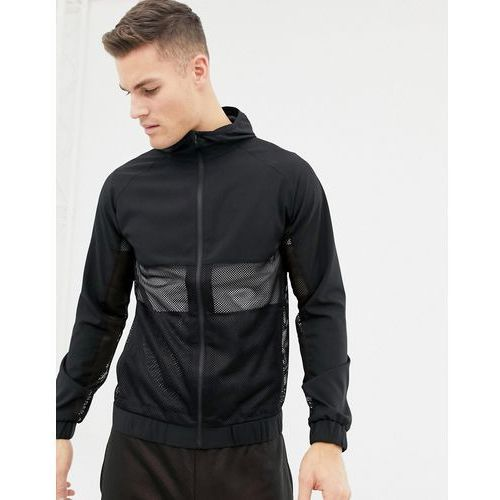 running jacket with breathable mesh panel in black - black, Asos 4505