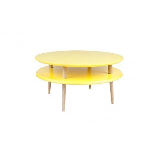 Stolik kawowy drewniany okrągły RAGABA UFO niski - kolor żółty/ kolor nóg naturalny buk