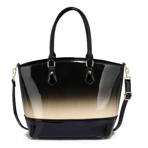 Cieniowana lakierowana torebka damska szaro-czarna - czarny ||szary marki Wielka brytania