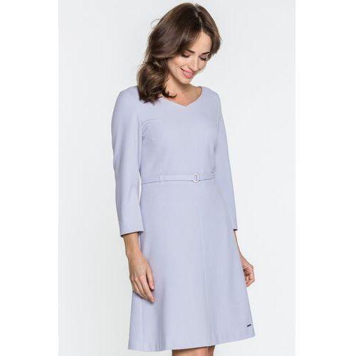 Fiołkowa sukienka z paskiem - Sobora, 1 rozmiar