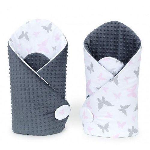 Rożek niemowlęcy dwustronny minky - Motylki Różowe - Szary, R M-T MINKY 6521
