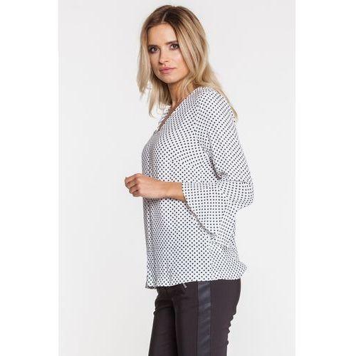 Bluzka w groszki z falbanką przy rękawie - Far Far Fashion, kolor biały