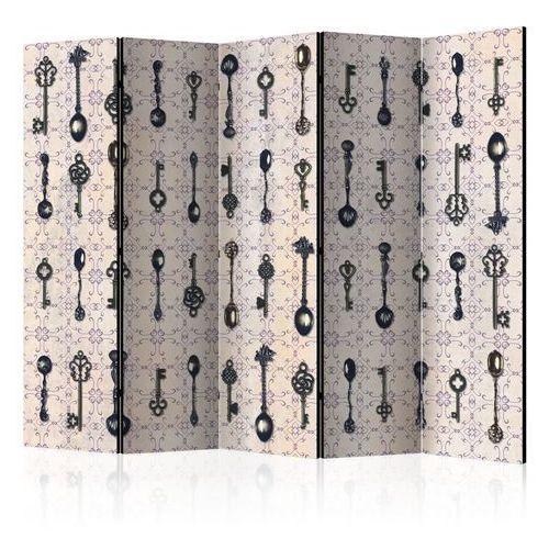 Artgeist Parawan 5-częściowy - styl retro: srebrne łyżki [room dividers]