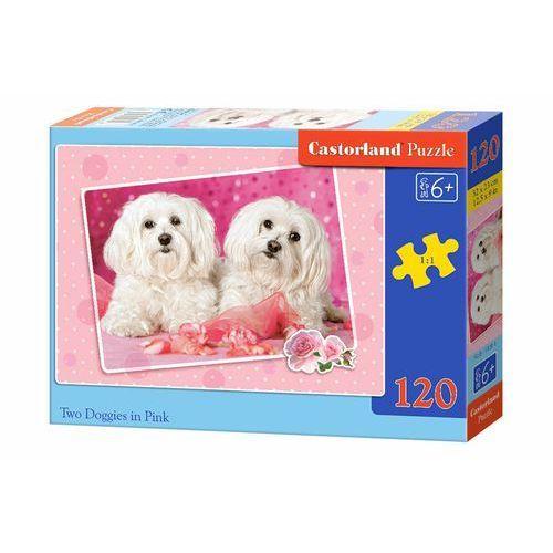 Castor Puzzle land. 120 elementów. two doggies in pink (b-13128-1) + zakładka do książki gratis