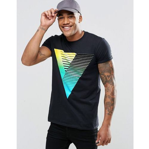 roll sleeve t-shirt in black with triangle fade print - black marki River island