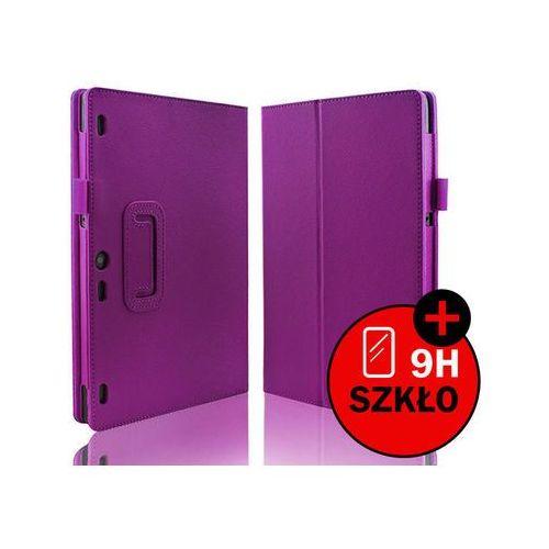 Fioletowe etui typu stand cover lenovo tab 2 a10-30 + szkło hartowane - fioletowy marki 4kom.pl