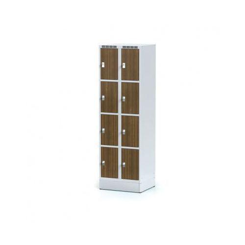 Alfa 3 Szafka ubraniowa 8 drzwi 300x300 mm na cokole, drzwi lpw, orzech, zamek obrotowy