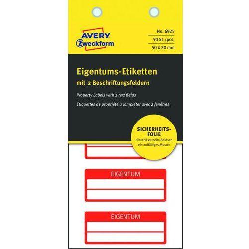 Tabliczki inwentaryzacyjne Avery Zweckform 6925, 50x20mm