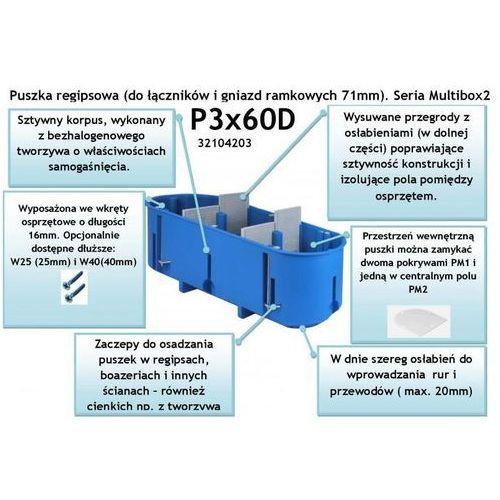 Simet sa P3x60d puszka do pustych ścian, fi60, potrójna, głęboka (opk=24szt)