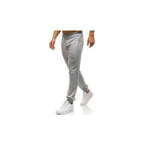 Spodnie męskie dresowe joggery szare Denley W2667, dresowe