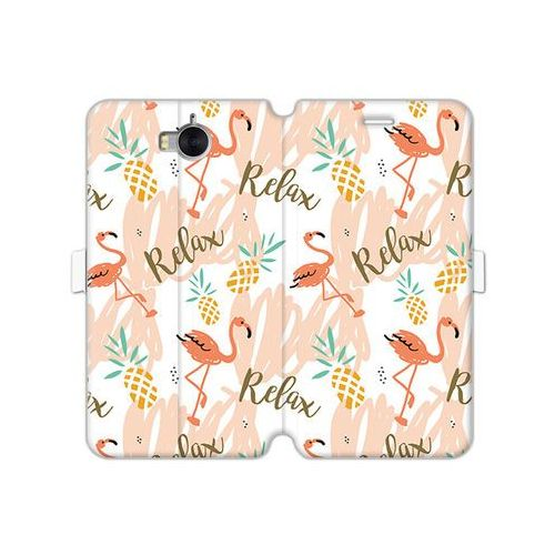 Etuo wallet book fantastic Huawei y6 (2017) - etui na telefon wallet book fantastic - różowe flamingi