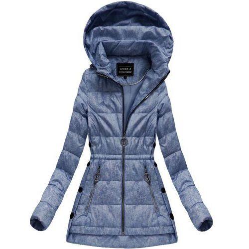 Pikowana kurtka z kapturem niebieska (w716-20big) - niebieski marki Speed.a