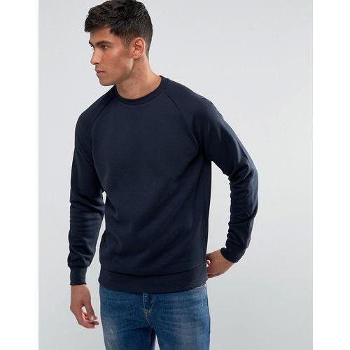 textured raglan crew neck sweat - navy marki Threadbare