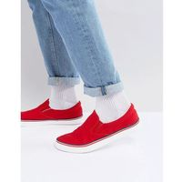 retro slip on plimsolls - red, Brave soul