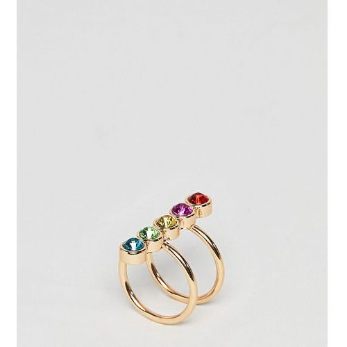 Asos design curve exclusive ring with multicolour jewels in gold - gold marki Asos curve
