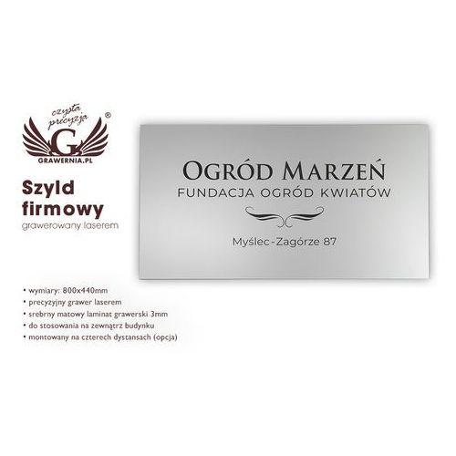 Grawernia.pl - grawerowanie i wycinanie laserem Szyld firmowy - srebrny matowy laminat grawerski - wym. 800x440mm - sz115