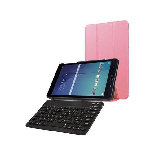 4kom.pl Etui book cover samsung galaxy tab e 9.6 różowe +klawiatura - różowy