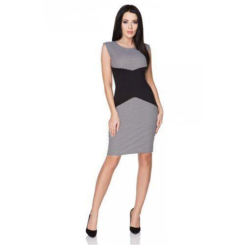 Biało-Czarna Sukienka Ołówkowa bez Rękawów z Czarną Wstawką, kolor czarny
