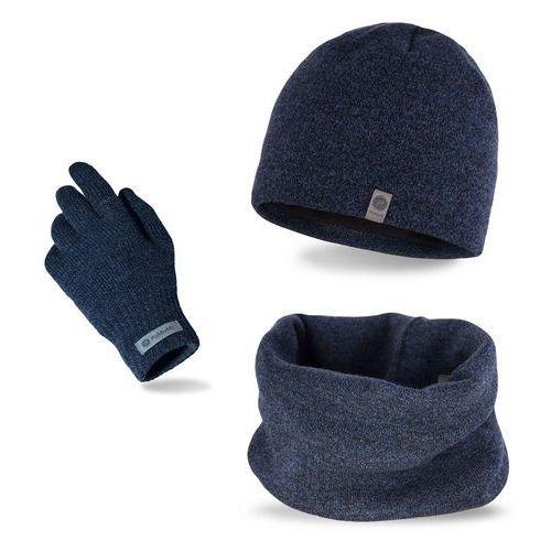 Komplet męski - czapka, komin i rękawiczki - granatowa mulina marki Pamami